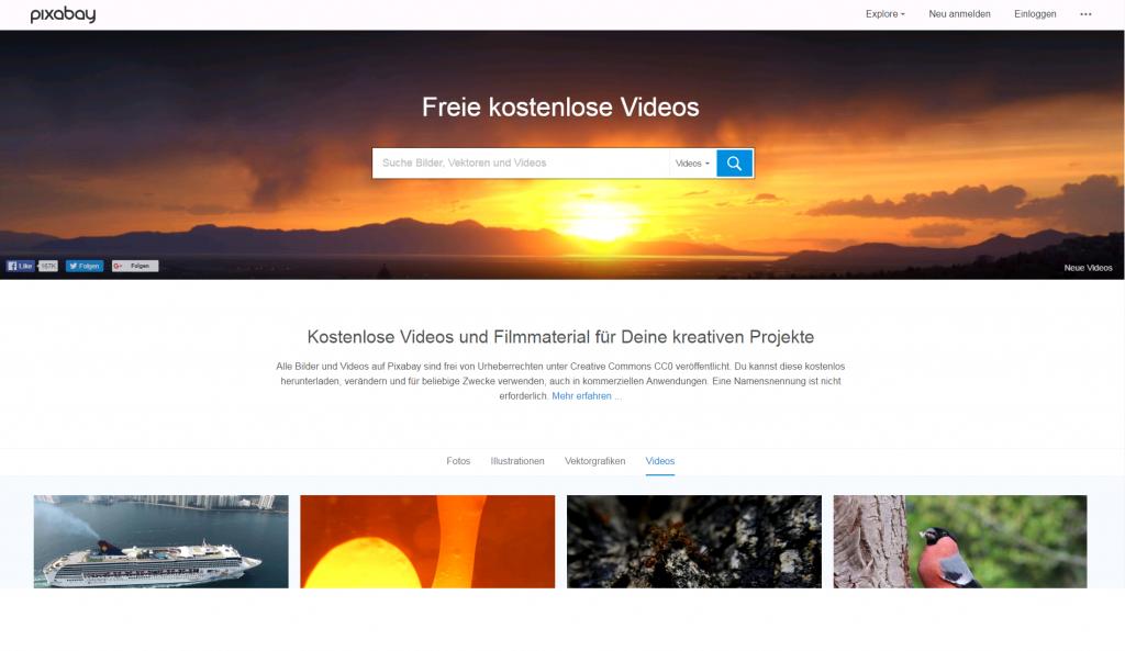 Ein Displayfoto von der Pixabay-Webseite  im Beitrag zu lizenzfreien Videos. Die Überschrift des Bildes lautet: Pixabay bietet ab sofort lizenzfreie Videos in seinem Katalog